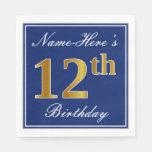 [ Thumbnail: Elegant Blue, Faux Gold 12th Birthday; Custom Name Paper Napkin ]