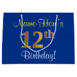 [ Thumbnail: Elegant, Blue, Faux Gold 12th Birthday + Name Gift Bag ]