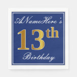 [ Thumbnail: Elegant Blue, Faux Gold 13th Birthday; Custom Name Paper Napkin ]