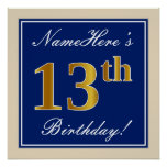 [ Thumbnail: Elegant, Blue, Faux Gold 13th Birthday + Name Poster ]