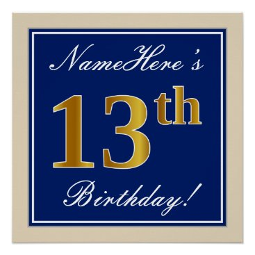Art Themed Elegant, Blue, Faux Gold 13th Birthday   Name Poster