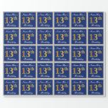 [ Thumbnail: Elegant, Blue, Faux Gold 13th Birthday + Name Wrapping Paper ]
