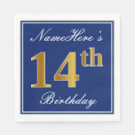 [ Thumbnail: Elegant Blue, Faux Gold 14th Birthday; Custom Name Paper Napkin ]
