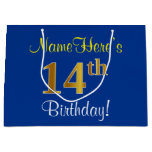 [ Thumbnail: Elegant, Blue, Faux Gold 14th Birthday + Name Gift Bag ]