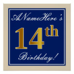 [ Thumbnail: Elegant, Blue, Faux Gold 14th Birthday + Name Poster ]