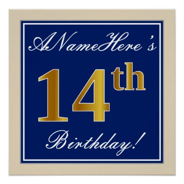 Art Themed Elegant, Blue, Faux Gold 14th Birthday   Name Poster
