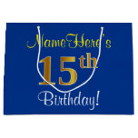[ Thumbnail: Elegant, Blue, Faux Gold 15th Birthday + Name Gift Bag ]