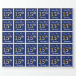 [ Thumbnail: Elegant, Blue, Faux Gold 15th Birthday + Name Wrapping Paper ]