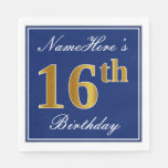 [ Thumbnail: Elegant Blue, Faux Gold 16th Birthday; Custom Name Napkin ]