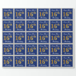 [ Thumbnail: Elegant, Blue, Faux Gold 16th Birthday + Name Wrapping Paper ]