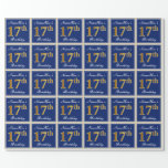 [ Thumbnail: Elegant, Blue, Faux Gold 17th Birthday + Name Wrapping Paper ]