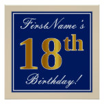 [ Thumbnail: Elegant, Blue, Faux Gold 18th Birthday + Name Poster ]