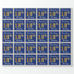 [ Thumbnail: Elegant, Blue, Faux Gold 18th Birthday + Name Wrapping Paper ]