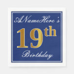 [ Thumbnail: Elegant Blue, Faux Gold 19th Birthday; Custom Name Napkin ]