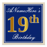 [ Thumbnail: Elegant, Blue, Faux Gold 19th Birthday + Name Invitation ]