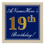 [ Thumbnail: Elegant, Blue, Faux Gold 19th Birthday + Name Poster ]