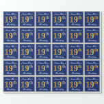[ Thumbnail: Elegant, Blue, Faux Gold 19th Birthday + Name Wrapping Paper ]