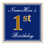 [ Thumbnail: Elegant, Blue, Faux Gold 1st Birthday; Custom Name Invitation ]