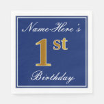 [ Thumbnail: Elegant Blue, Faux Gold 1st Birthday + Custom Name Napkin ]