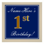 [ Thumbnail: Elegant, Blue, Faux Gold 1st Birthday; Custom Name Poster ]