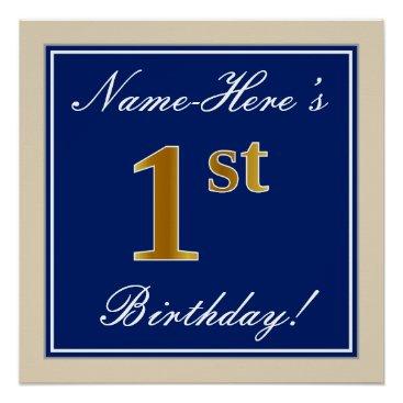 Art Themed Elegant, Blue, Faux Gold 1st Birthday; Custom Name Poster