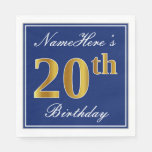[ Thumbnail: Elegant Blue, Faux Gold 20th Birthday; Custom Name Paper Napkin ]