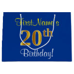 [ Thumbnail: Elegant, Blue, Faux Gold 20th Birthday + Name Gift Bag ]
