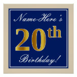 [ Thumbnail: Elegant, Blue, Faux Gold 20th Birthday + Name Poster ]