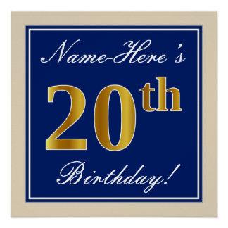 Elegant, Blue, Faux Gold 20th Birthday + Name Poster