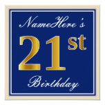 [ Thumbnail: Elegant, Blue, Faux Gold 21st Birthday + Name Invitation ]