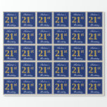 [ Thumbnail: Elegant, Blue, Faux Gold 21st Birthday + Name Wrapping Paper ]