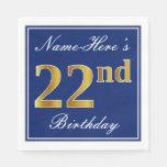 [ Thumbnail: Elegant Blue, Faux Gold 22nd Birthday; Custom Name Napkin ]
