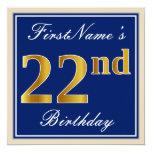 [ Thumbnail: Elegant, Blue, Faux Gold 22nd Birthday + Name Invitation ]