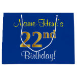 [ Thumbnail: Elegant, Blue, Faux Gold 22nd Birthday + Name Gift Bag ]