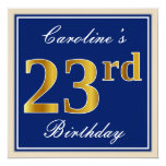 [ Thumbnail: Elegant, Blue, Faux Gold 23rd Birthday + Name Invitation ]
