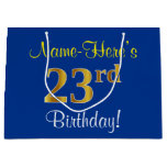 [ Thumbnail: Elegant, Blue, Faux Gold 23rd Birthday + Name Gift Bag ]