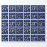 [ Thumbnail: Elegant, Blue, Faux Gold 23rd Birthday + Name Wrapping Paper ]