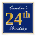 [ Thumbnail: Elegant, Blue, Faux Gold 24th Birthday + Name Invitation ]