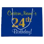 [ Thumbnail: Elegant, Blue, Faux Gold 24th Birthday + Name Gift Bag ]