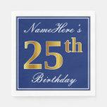 [ Thumbnail: Elegant Blue, Faux Gold 25th Birthday; Custom Name Napkin ]