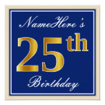 [ Thumbnail: Elegant, Blue, Faux Gold 25th Birthday + Name Invitation ]