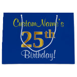 [ Thumbnail: Elegant, Blue, Faux Gold 25th Birthday + Name Gift Bag ]