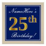 [ Thumbnail: Elegant, Blue, Faux Gold 25th Birthday + Name Poster ]
