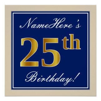 Elegant, Blue, Faux Gold 25th Birthday + Name Poster