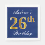 [ Thumbnail: Elegant Blue, Faux Gold 26th Birthday; Custom Name Napkin ]