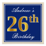 [ Thumbnail: Elegant, Blue, Faux Gold 26th Birthday + Name Invitation ]