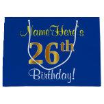 [ Thumbnail: Elegant, Blue, Faux Gold 26th Birthday + Name Gift Bag ]