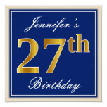 [ Thumbnail: Elegant, Blue, Faux Gold 27th Birthday + Name Invitation ]