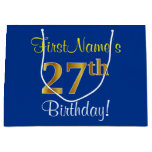 [ Thumbnail: Elegant, Blue, Faux Gold 27th Birthday + Name Gift Bag ]