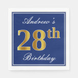 [ Thumbnail: Elegant Blue, Faux Gold 28th Birthday; Custom Name Napkin ]